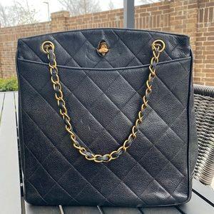 Chanel Vintage Caviar Quilted Tote Handbag